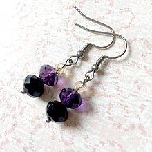 Sady šperkov - Violet-Beige & Stainless Steel Set / Sada šperkov Swarovski Rondelle (Chirurgická oceľ) /T0013 (Náušnice) - 11002024_