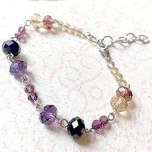 Sady šperkov - Violet-Beige & Stainless Steel Set / Sada šperkov Swarovski Rondelle (Chirurgická oceľ) /T0013 (Náramok) - 11002037_