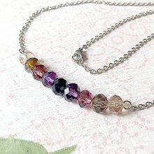 Sady šperkov - Violet-Beige & Stainless Steel Set / Sada šperkov Swarovski Rondelle (Chirurgická oceľ) /T0013 (Náhrdelník) - 11002047_