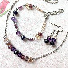 Sady šperkov - Violet-Beige & Stainless Steel Set / Sada šperkov Swarovski Rondelle (Chirurgická oceľ) /T0013 (Sada šperkov) - 11002083_
