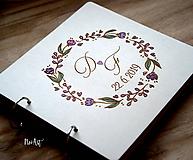 Papiernictvo - Svadobná kniha hostí, drevený fotoalbum -  venček14 - 11003153_