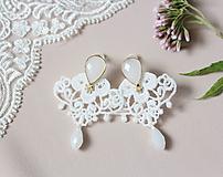 Náušnice - Svadobné náušnice s čipkou a perličkou - 11002703_