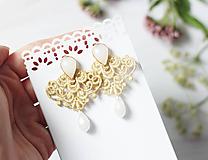 Náušnice - Náušnice s čipkou a perličkou - 11003092_