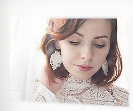 Náušnice - Svadobné náušnice s čipkou - 11003221_