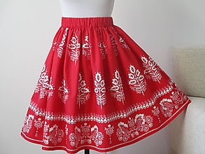 Sukne - Sukňa červená folk - 11001404_