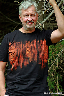 Tričká - Pánske tričko batikované, maľované SÚMRAK STROMOV - 11001376_