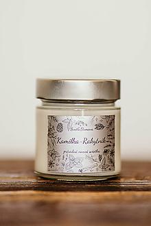 Svietidlá a sviečky - Sviečka zo 100% sójového vosku v skle - Kamilka a Rakytník - 11001087_