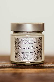Svietidlá a sviečky - Sviečka zo 100% sójového vosku v skle - Levanduľa a Citrón - 11002107_