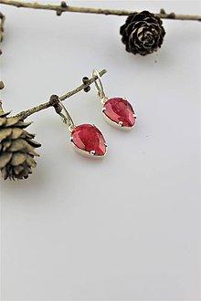Náušnice - rubín náušnice - v striebre Ag925/1000 - 11003422_