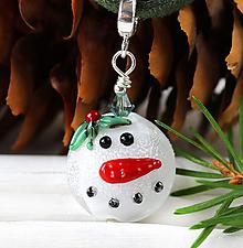 Náhrdelníky - Vianočný snehuliak prívesok /l-112 - 11001513_