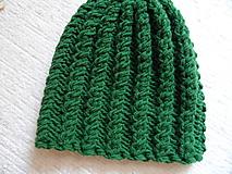 Čiapky - obojstranná čiapka v zelenom - 11002423_