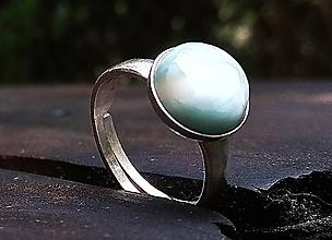 Prstene - ZĽAVA Strieborný prsteň Ag925 s prírodným larimarom - 11001959_