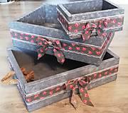 Nádoby - Romantické bedničky na čokoľvek 3ks - 11002144_