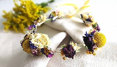 Ozdoby do vlasov - Venček zo sušených kvetov romantický - 11001832_