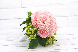 Kytice pre nevestu - Saténová kytica svadobná ružová ruže a listy - 11001896_