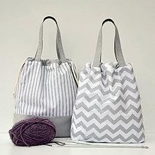 Iné tašky - Taška šedý pásik ~ tvoritaška + nákupná - 11002559_