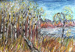 Obrazy - Jeseň pri jazere - 11001960_