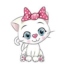 Galantéria - Nažehľovačka Biela mačička s mašľou - 11001039_