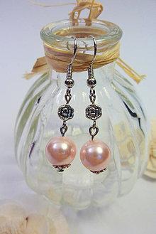 Náušnice - Perličkové náušnice ružové - 11002686_