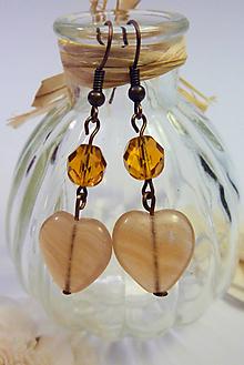 Náušnice - Srdcové náušnice hnedé - 11003073_