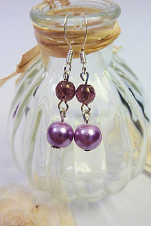 Náušnice - Perličkové náušnice fialové - 11003082_