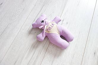 Darčeky pre svadobčanov - Macko s menom...lila - 11002068_