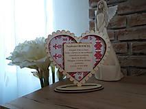 Darčeky pre svadobčanov - Podakovanie pre rodicov Cicmany III (drevo+textil) - 11002421_
