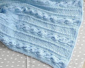 Textil - Pletená deka modrá - 11001323_