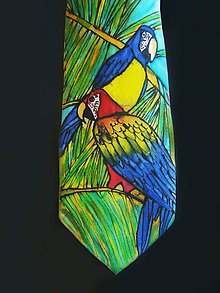 Doplnky - Kravata hedvábná Papoušek - 11002206_
