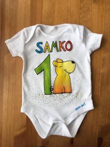 Detské oblečenie - Maľované body k 1. narodeninám (so psíkom 1) - 11003235_