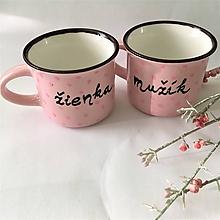 Nádoby - mini bodkované svadobné hrnčeky - žienka & mužík   ružová - 11001459_
