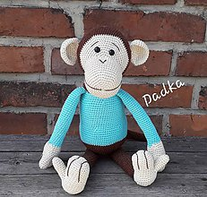 Hračky - Hačkovaná opička v modrom - 11003096_