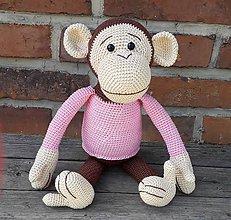 Hračky - Hačkovaná opička v ružovom - 11003133_
