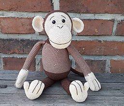Hračky - Hačkovaná opička hnedá - 11003158_