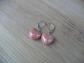 Náušnice - náušnice keramické srdcia - 11002892_