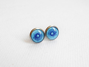 Náušnice - Živicové náušnice - Púpavky na modrej mini (chirur.oceľ) - 11004052_