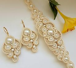 Sady šperkov - Soutache set Lilien - krémová so zlatou - 11003687_