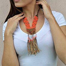 Náhrdelníky - Kožený náhrdelník, šperky v egyptskom štýle - 11005415_