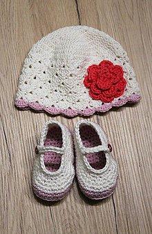 Detské súpravy - Set pre dievčatko - topánočky a čiapka - 11005302_