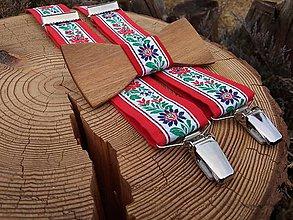 Doplnky - Pánsky drevený motýlik a traky - 11004136_