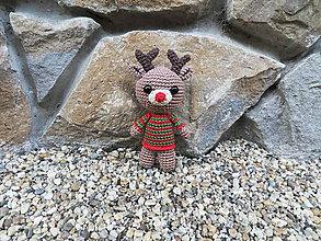 Hračky - Háčkovaný sobík Rudolf s červeným nosom - 11005505_