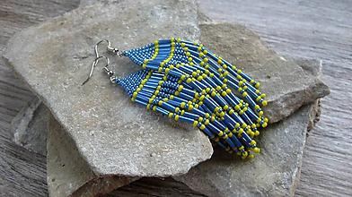 Náušnice - Strapcové (Modro žlté č. 2844) - 11003995_