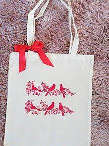Iné tašky - Vtáčiky maľovaná eko taška - 11003637_
