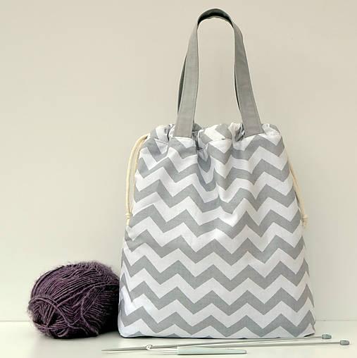 Taška šedý cik-cak ~ tvoritaška + nákupná