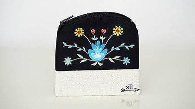 Peňaženky - Peňaženka ručne maľovaná-farebné kvety - 11004245_