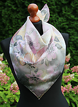 Šatky - Šedo-ružová hodvábna... - 11005178_