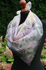 Šatky - Šedo-ružová hodvábna... - 11005216_