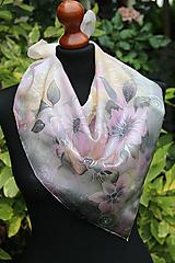 Šatky - Šedo-ružová hodvábna... - 11005243_