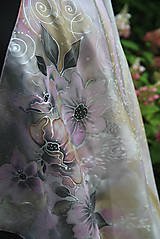 Šatky - Šedo-ružová hodvábna... - 11005374_