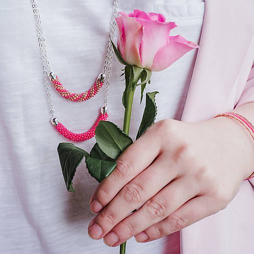 SNAKE ružový dlhý náhrdelník